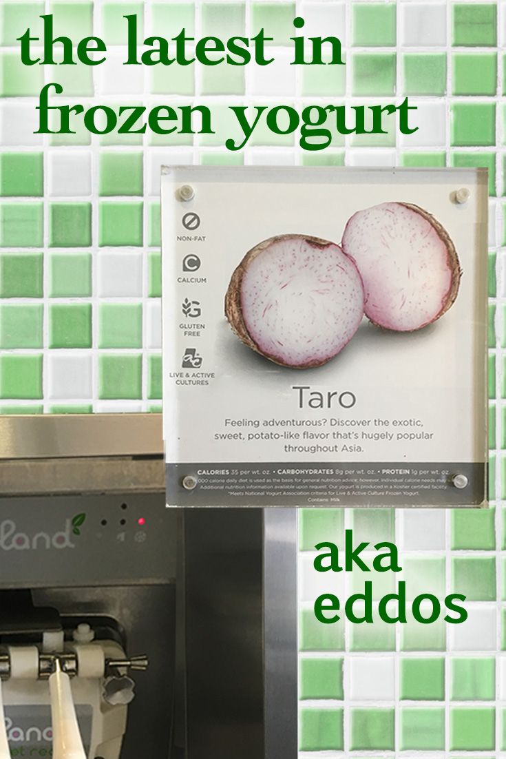 Look what tropical veggie is showing up in self-serve yogurt places, taro. Taro's another name for eddoes. Tried the soft-serve, nice. But I like my eddoes hot off the grill. Recipes...http://www.brookstropicals.com/tropicalrecipes/otherrecipes.shtml