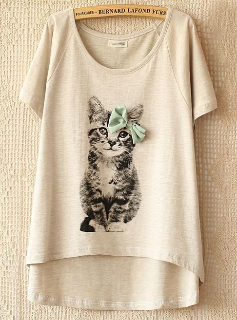 Grey Cat T-shirt with Bow | SheIn $18.70 AUD