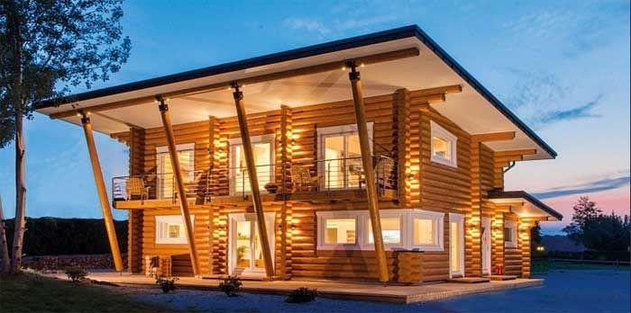 Inspiration Blockhaus Flachdach Mit Herausragenden Design