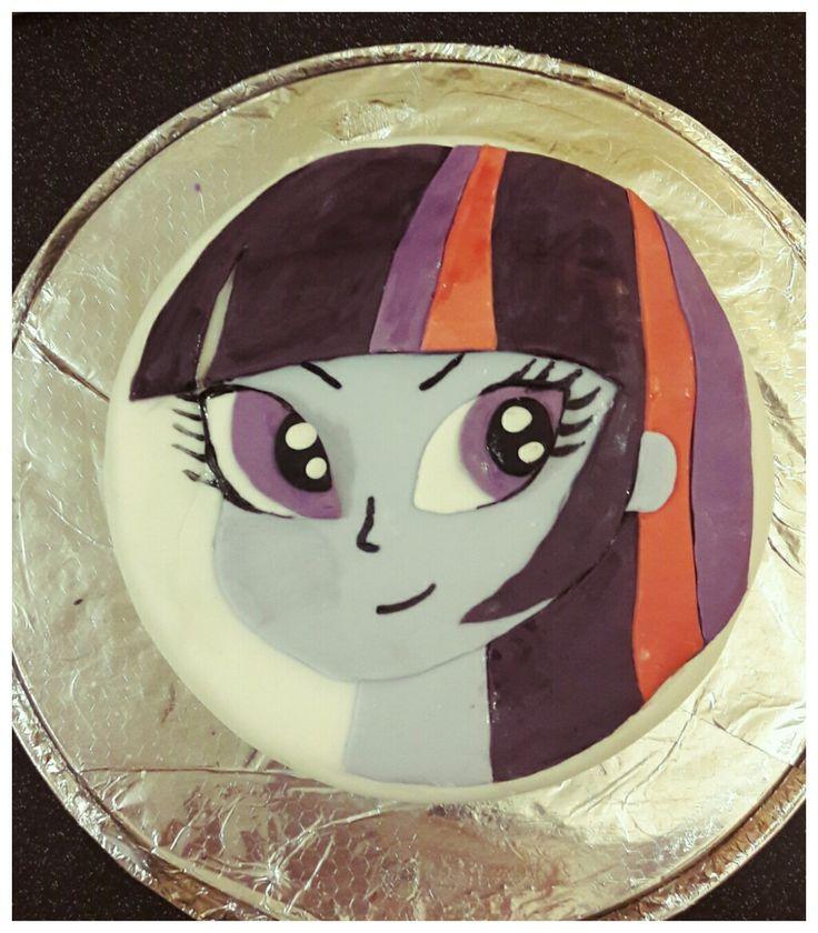 Home baked children's birthday cake with my little pony design #twilightsparkle #equestriagirls #birthdaycake #mylittlepony