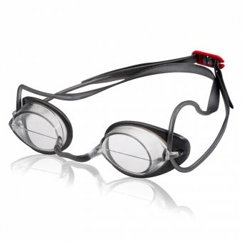 Speedo Hydralign Goggles feature a mid-lens break to keep the user's head in correct streamline position.