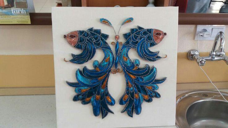Balık kelebek mavinin ferahlığı..arkadaşımın ellerine sağlık.. #filografi