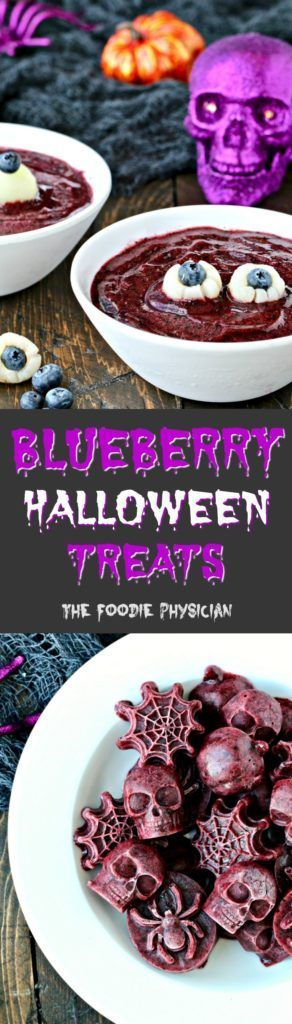 Celebrate Halloween with these spooky blueberry Halloween treats including Blueberry Eyeball Soup and Frightening Frozen Blueberry Bites!| @foodiephysician