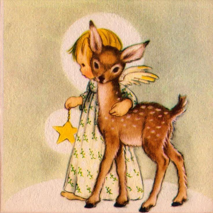 1942 Angel and Deer Christmas Greetings Card (B1). $5.00, via Etsy.