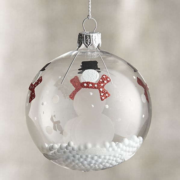 Snowman with Snowball Clear Ornament  | Crate and Barrel