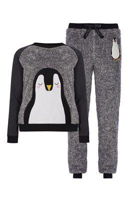 Novelty Penguin Sherpa PJ Set