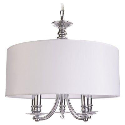 """Lampa wisząca ABU DHABI P05406WH  Tradycyjny kształt lampy wiszącej, idealne proporcje i doskonałe ozdobniki – subtelne, a jednocześnie przykuwające oko. Chromowane wykończenie, mocowanie źródeł światła na świecznikach oraz biały abażur z tkaniny daje iście amerykański """"look"""", który zdobywa coraz większą rzeszę miłośników.  Abu Dhabi to doskonałe wręcz oświetlenie dekoracyjne do salonu, jadalni, czy też sypialni w nowojorskim stylu."""