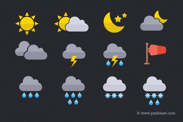 Flat Weather Icon (PSD)