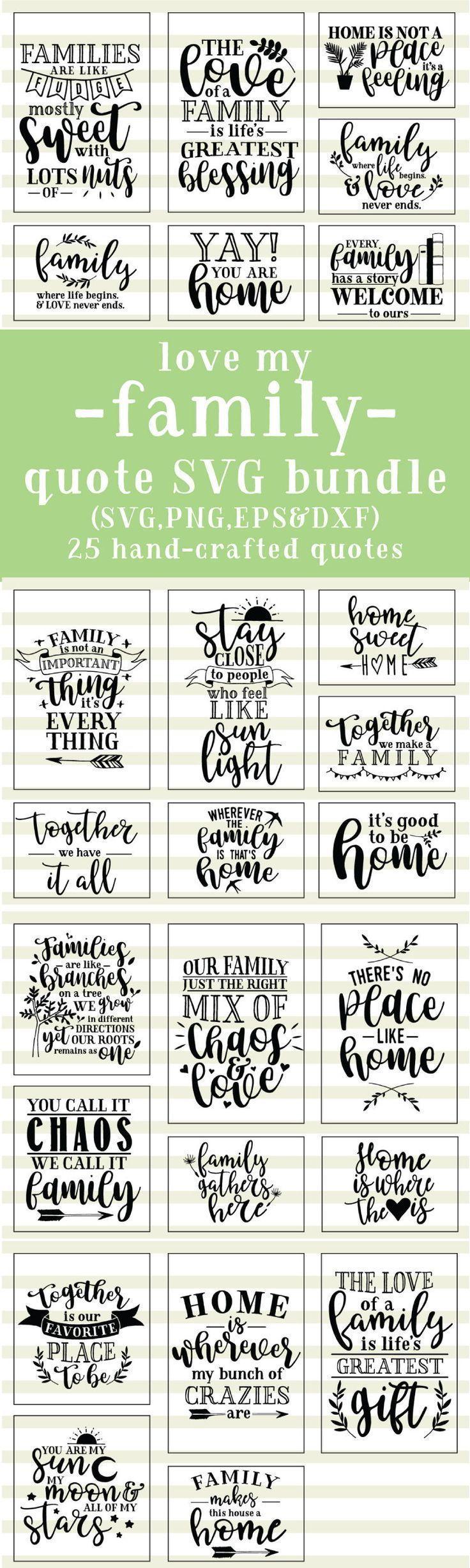 Family Love Quotes SVG Cut File Bundle Deal | Cut File for Cricut & Cameo Silhouette | Quote DXF Cut