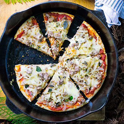 Camp Pizza with Caramelized Onions, Sausage, and Fontina  Yes, you can make pizza at your campsite. For efficient prep, bring the ingredients in sealed containers, grouped by use.