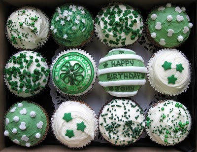 Pinned from Mary-Jo Brannan. Celtic Football Cupcakes