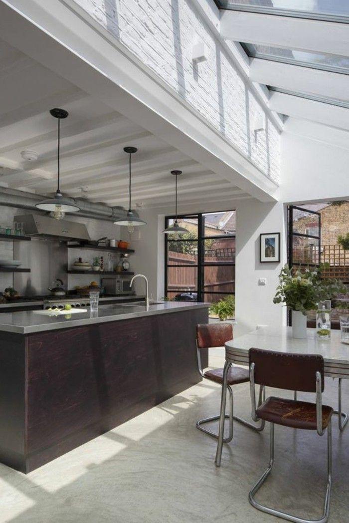meubles de cuisine blanc et marron fonc verriere interieure pas cher