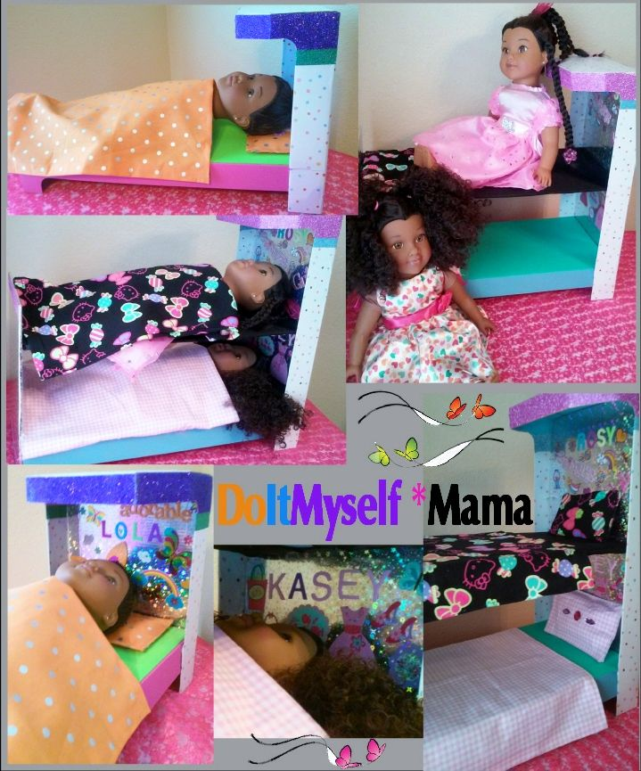 DIY American Girl Doll Bed/Bunkbed ~ Doll box, foam core, foam, adhesive liner & stickers* {DoItMyself Mama}