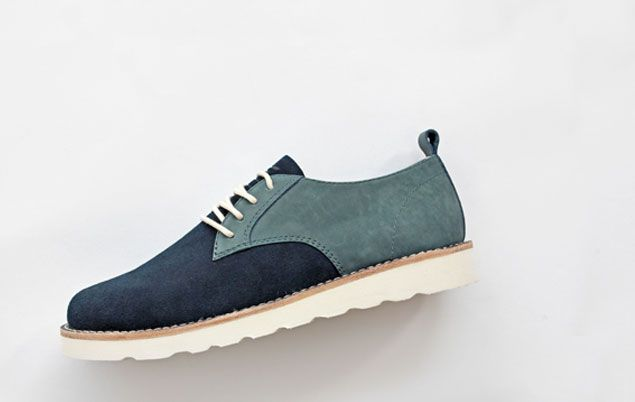 A client customized these Darnell shoes in a mix of bluestone nubuck and navy suede. With a white outsole and natural welt, the results are incredible. // ELECT Footwear - Our Shoes // #electfootwear #custom #mens #shoes