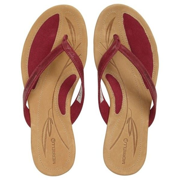 Women's Merrell Solstice Flip Flop ($64) ❤ liked on Polyvore featuring shoes, sandals, flip flops, beet red leather, merrell sandals, long shoes, red flip flops, red leather sandals and summer flip flops