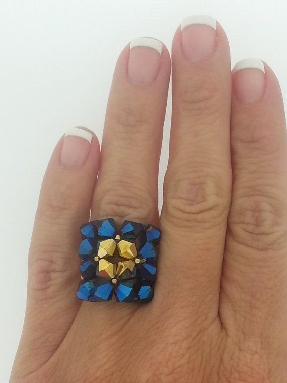 Navy Blue and Gold Square Bling RIng by CrystalHeartFactory