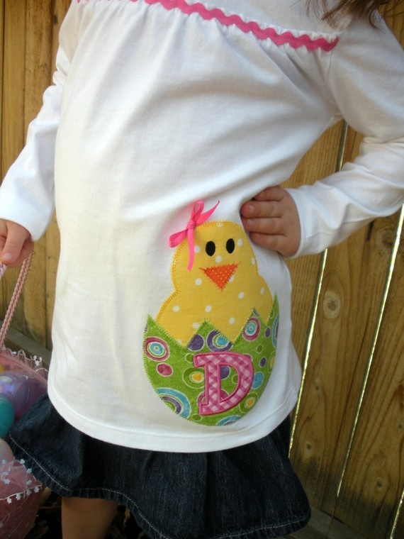 Easter Chick Monogrammed Girls Short or Long by CabinFeverCO, $24.00