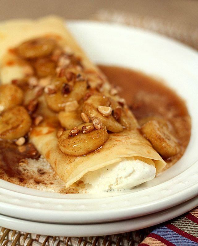 Bananas foster crepes.  My husband would marry me again if I made these!  @CreativCulinary