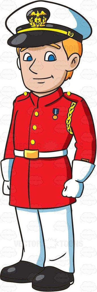 An Officer Wearing The US Marine Corps Red Dress Uniform #cartoon #clipart #vector #vectortoons #stockimage #stockart #art