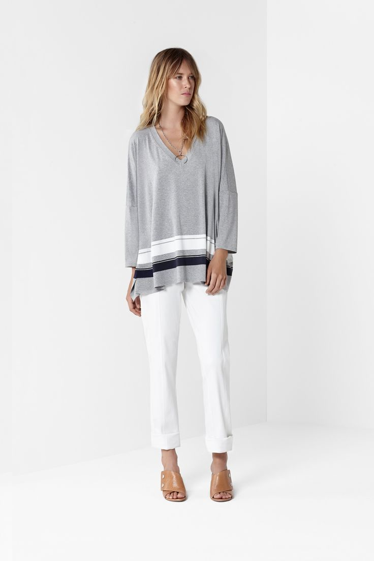 Border Stripe Poncho Sweater White Transit Pant