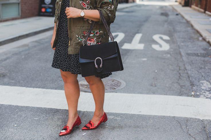 Embellished Utility Jacket, Chiara Ferragni shoes, Gucci bag