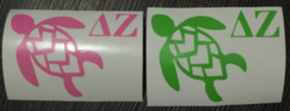 Vinyl Decal Delta Zeta Turtle: Car, Laptop, Tumbler Decal