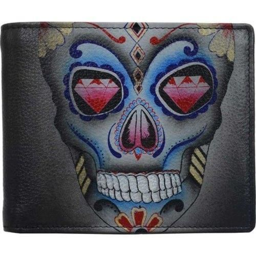 Men's Anuschka Hand Painted Two Fold Wallet Calaveras de Azúcar