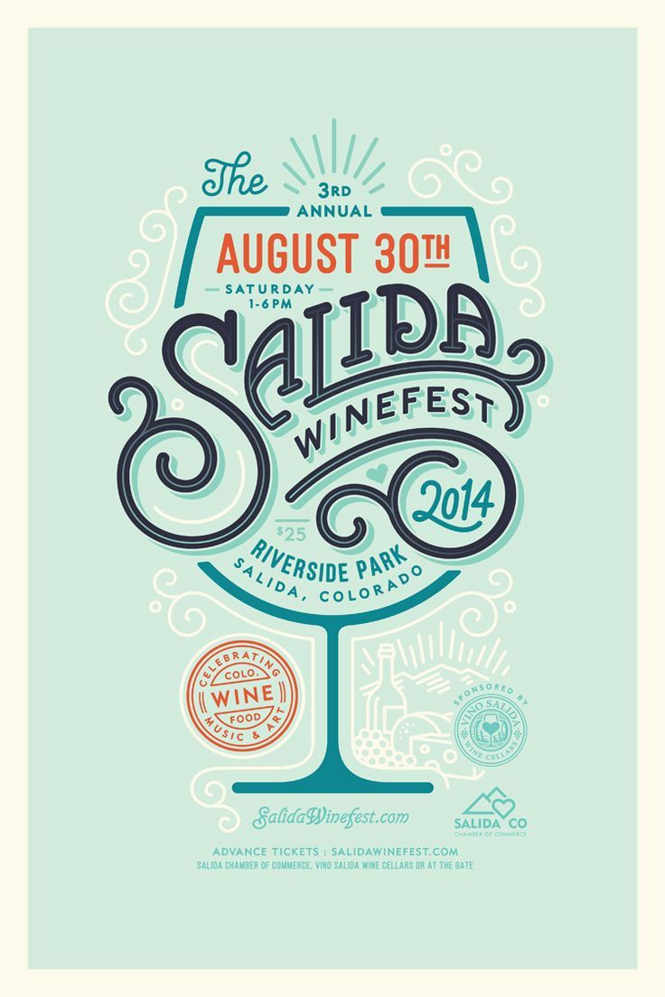 Good colors and details. Flourishes+elements of different colors show importance and keep the design uncluttered by same color and weight elements. Salida Winefest 2014