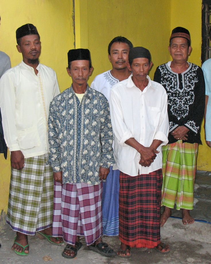 Javanese men often wear sarongs during religious or casual occasions. Surabaya, East Java, Indonesia.