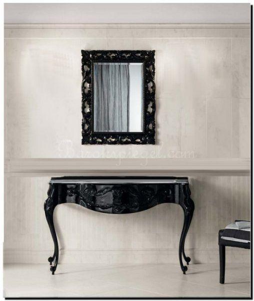 I love it this black mirror above side table. Prachtig deze Venetiaanse spiegel met zwarte lijst boven een side table