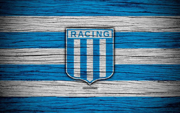 Download wallpapers Racing, 4k, Superliga, logo, AAAJ, Argentina, soccer, Racing FC, football club, wooden texture, FC Racing