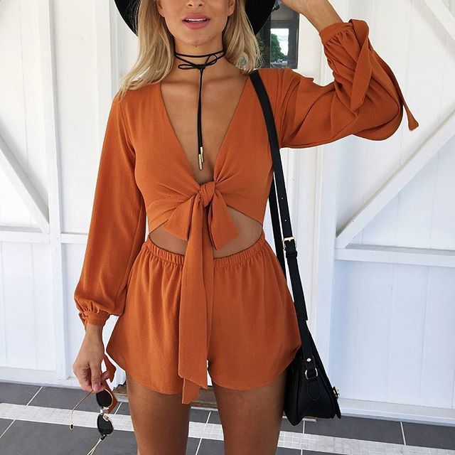 Burnt Orange Playsuit  Shop Now http://www.muraboutique.com.au/collections/playsuit/products/tranquil-playsuit-burnt-orange?variant=19305463367   #muraboutique