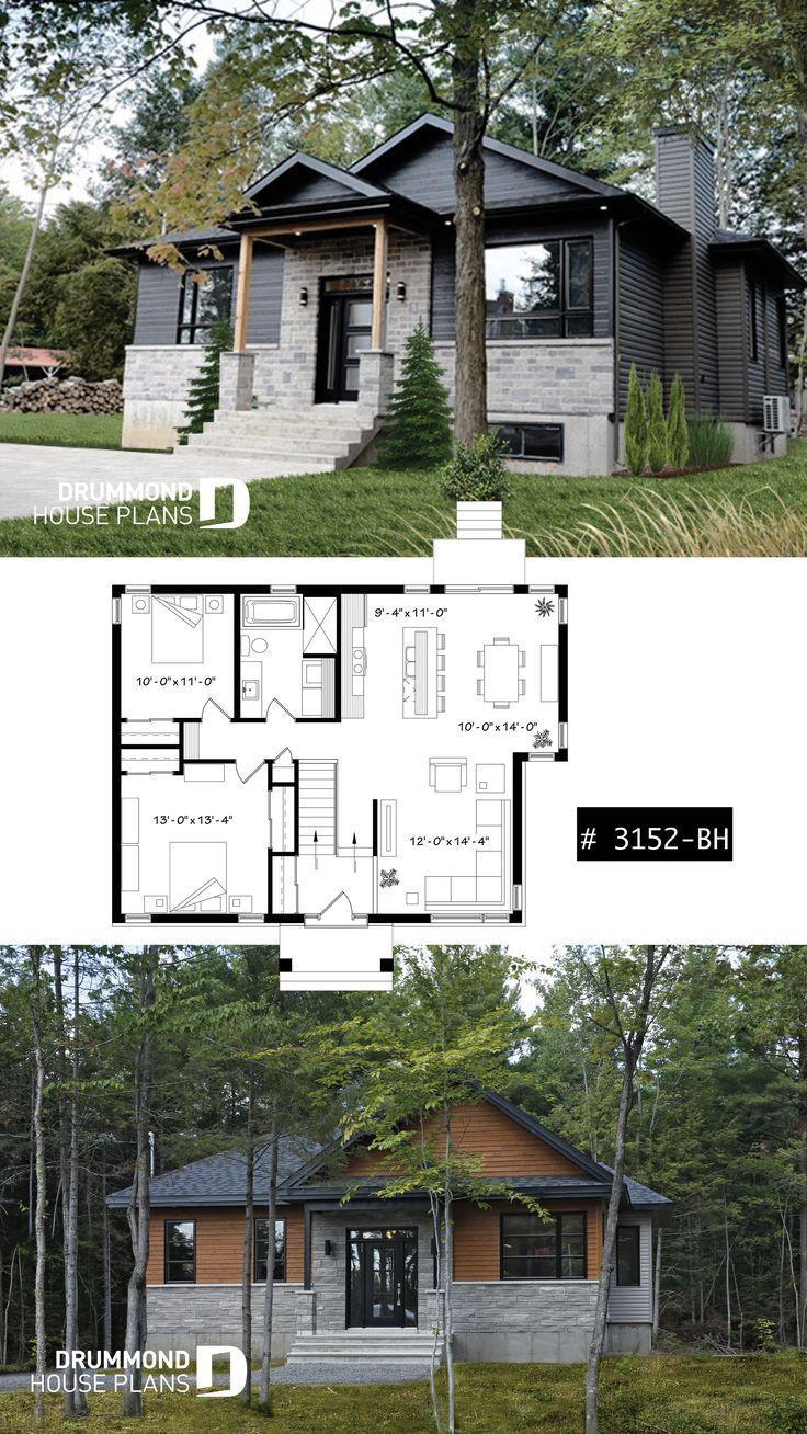 2 Bedroom Rustic Modern Home Plan Split Entry Large Kitchen Island Large Full 2 Bedroom Ru In 2020 Moderne Grundrisse Moderne Home Plane Moderne Hausplane