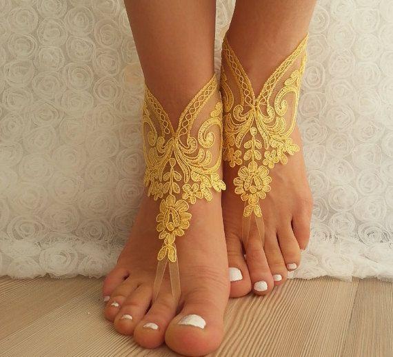 Bridal Anklet, Yellow Beach Wedding Barefoot Sandals, Bangle ...