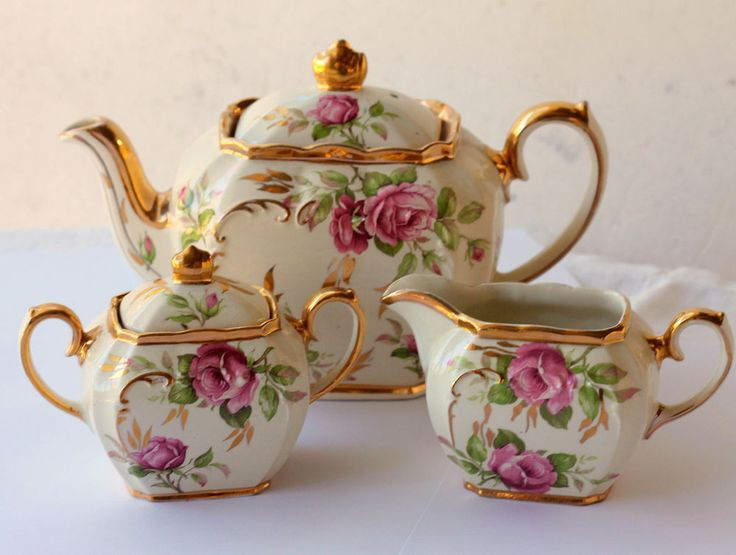 Wish I could buy a set like this...but for less. Wow. Sadler Vintage Pink Roses Teapot Tea Pot Set - Incl Milk Jug & Sugar - Shabby #Sadler