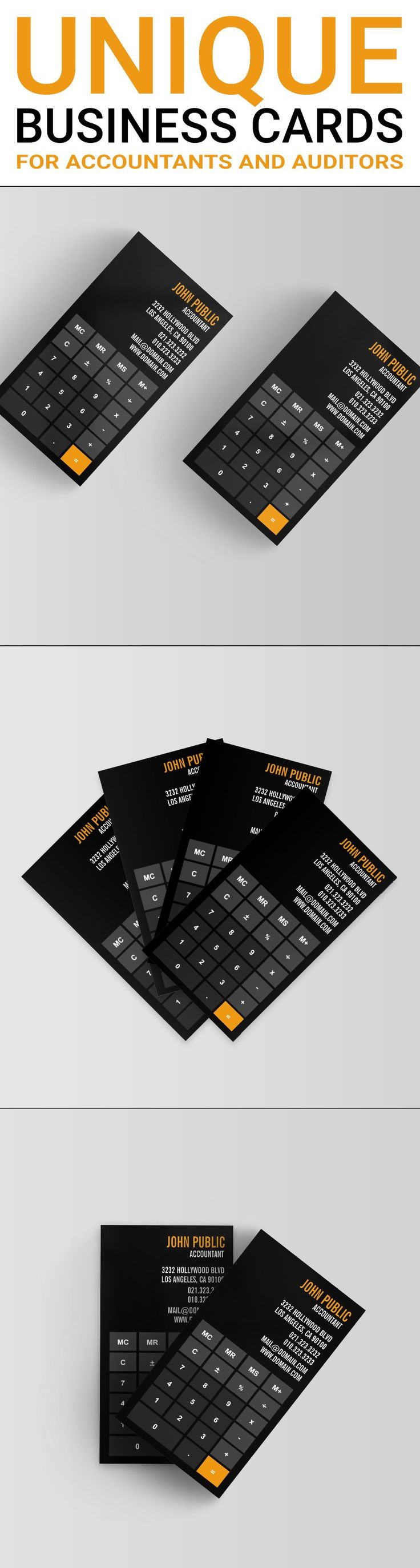 A unique and modern business card template designed to look like a modern app calculator. This business card design is ideal for accountants, certified public accountants, bookkeepers or financial advisers. It will also work for math tutors.