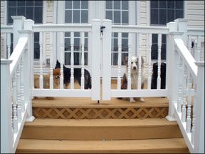 """Create """"airlocks"""" for your doors.  A small area with a self-closing gate, so if your dog darts out the door she's still contained. (This would be awesome to have a fence like this wrapped around our front concrete porch.... it sure would give me a peace of mind with Macy not running away!)"""