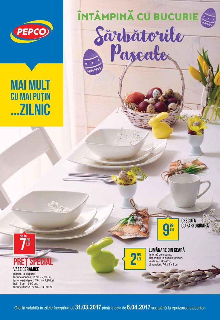Catalog Pepco 31 Martie - 06 Aprilie 2017! Oferte si recomandari: vase ceramice patrate de la 7,99 lei; lumanre din ceara in forma de epuras 2,99 lei