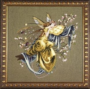 """MD80 - Lilly Of The Woods - The Dreaming Fairy - Mirabilia Designs Uses / Description: 65141 Laurel Linen 32ct or Olive Green Belfast Linen 32ct Beads: (# of pkgs) 02002 (1), 02011 (1), 02031 (1), 03052 (1), 16031 (1), 16615 (1), 18819 (1), 18828 (1), 62033 (1)  Treasures: (# of pkgs) 12065 (13), 12144 (6)  Kreinik: See list on website. **Approximate design size 13"""" w x 14"""" h"""