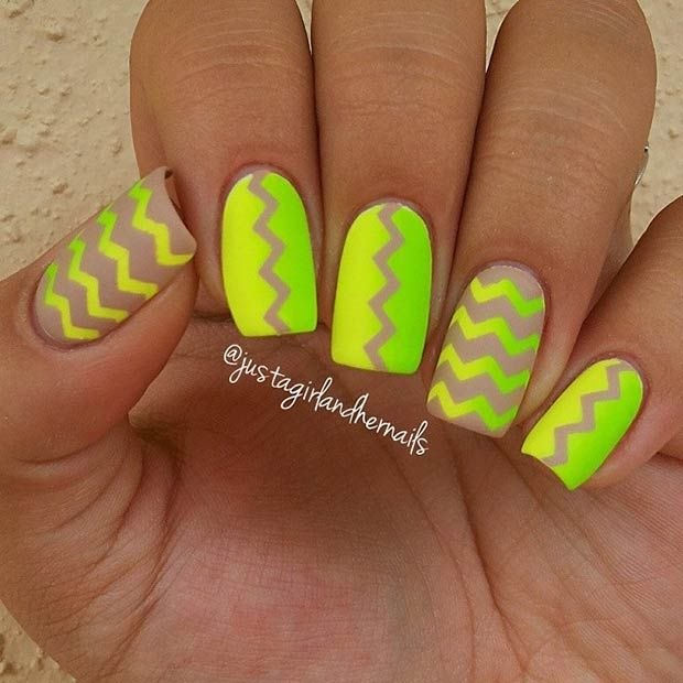 Nude, Yellow and Lime Green Matte Nails + Chevron Pattern