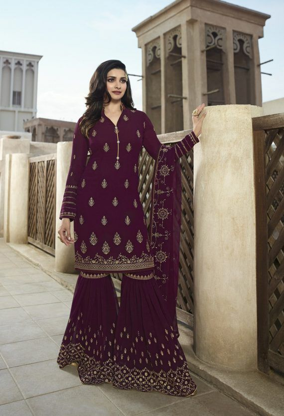 a52d067e9d Wine Heavy Embroidered Gharara Suits Top Georgette Bottom Georgette With  Work. Dupatta Georgette With Work. Complete With Zari and Stone Work.