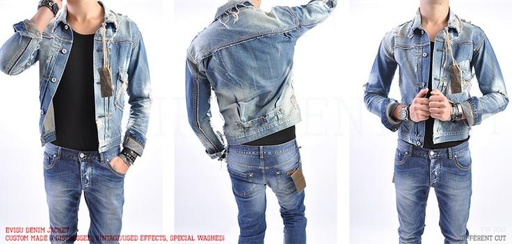 ✂ Evisu Denim Jacket / Custom made (distressed, vintage/used cuts, vintage sprinkle)
