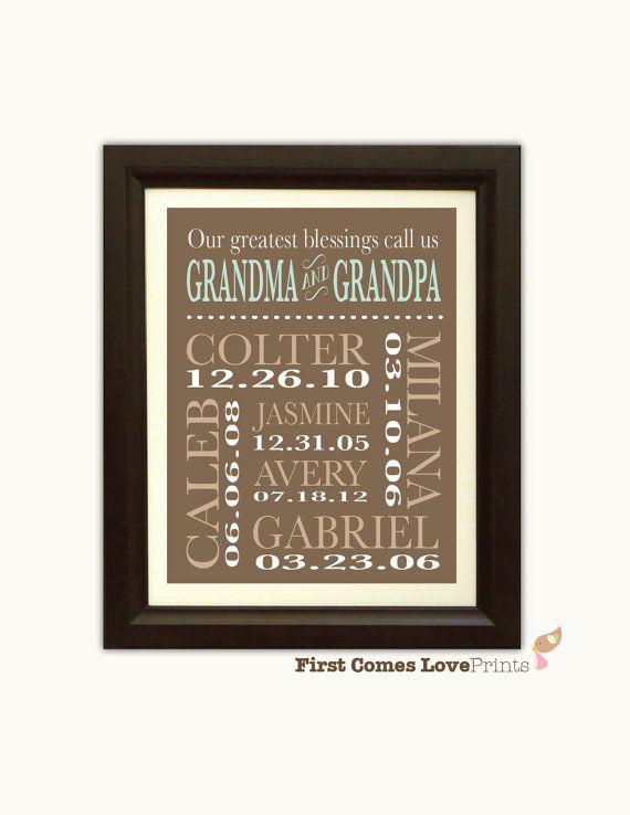 Grandparents Christmas Gift - Grandkids/Grandchildren Birthdays Sign - Keepsake Wall Art - Completely Customized - Kids' Names and Colors