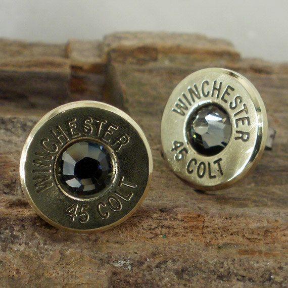 Bullet  Earrings  - Stud Earrings - Ultra Thin - Colt 45 - Black Bart. $17.99, via Etsy.