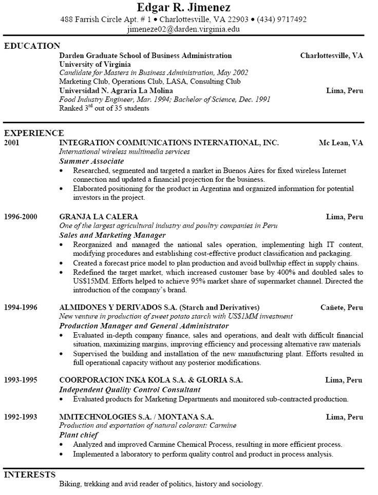 resume sample for business administration graduate