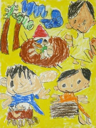 """Eita Okumura Kagoshima Prefecture Japan 1st grade elementary school This picture is titled """"We went Camping"""". I thought that the exaggeration of the features of figures was very interesting. Without the title we might not be able to tell what is going on in the picture but I think the picture tells the story very well."""