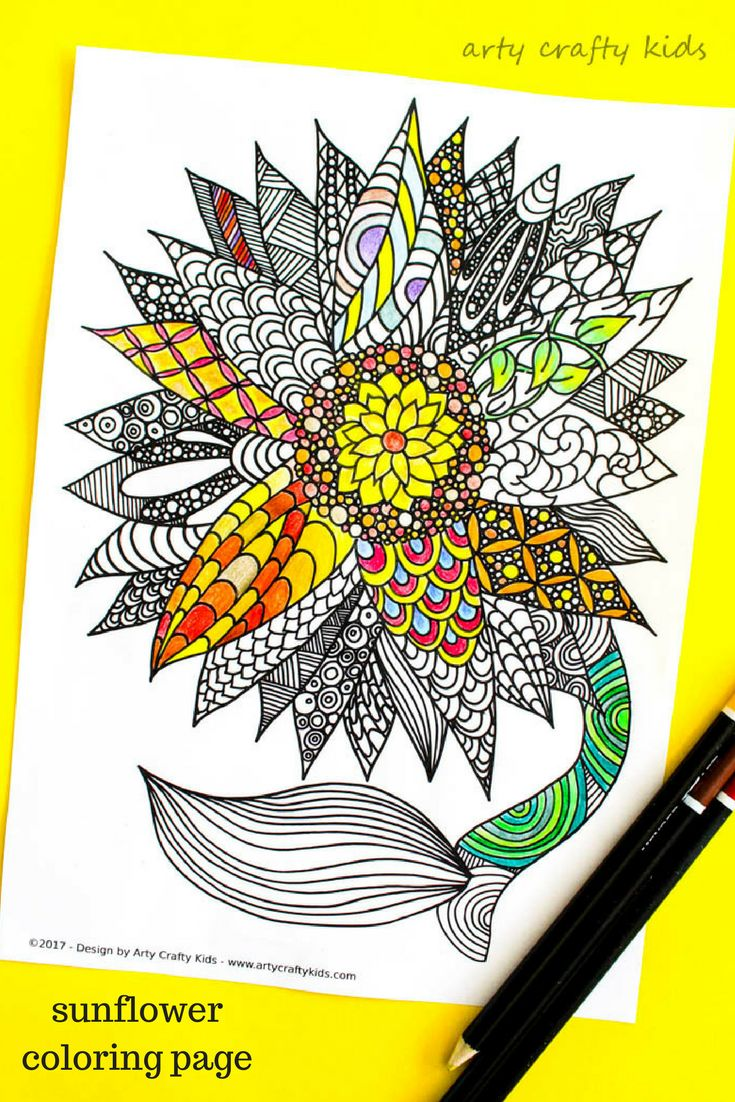 Spring art coloring pages - Arty Crafty Kids Coloring Pages Sunflower Coloring Page Beautiful And Detailed Sunflower Coloring