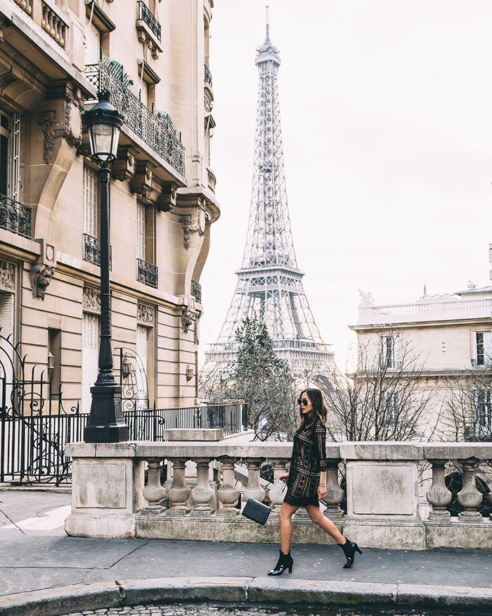 Little Black Lace Dress in Paris