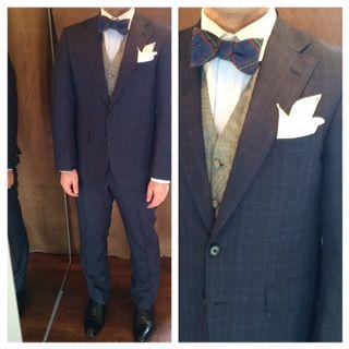 suit:ネイビーチェック vest:千鳥格子 bowtie:ブルーマルチカラーチェック  #新郎#カジュアルウエディング