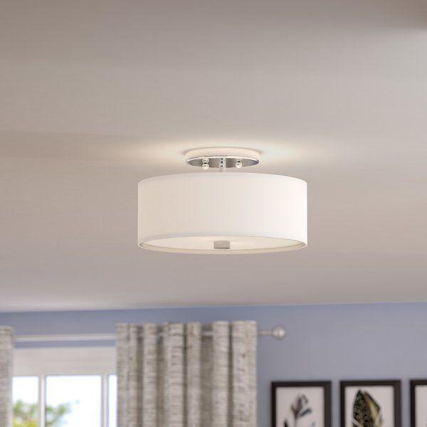 Bennet 2 Light Shaded Drum Semi Flush Mount Bedroom Light Fixtures Bedroom Ceiling Light Flush Mount Lighting